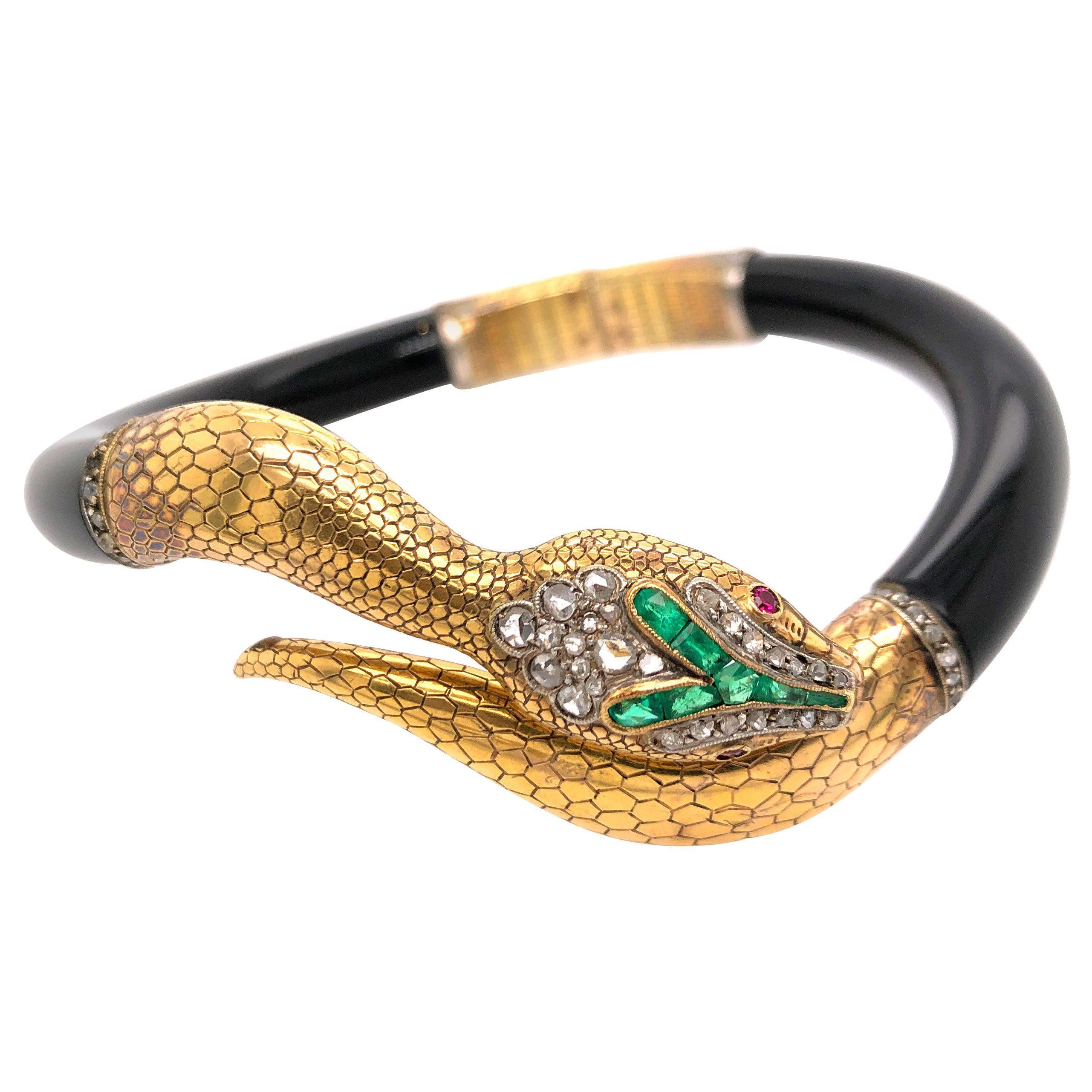 Vintage Emerald Diamond and Ruby Black Snake Bangle Bracelet
