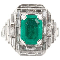 Vintage Emerald Diamond Baguette Ring 4.00 Carat Emerald