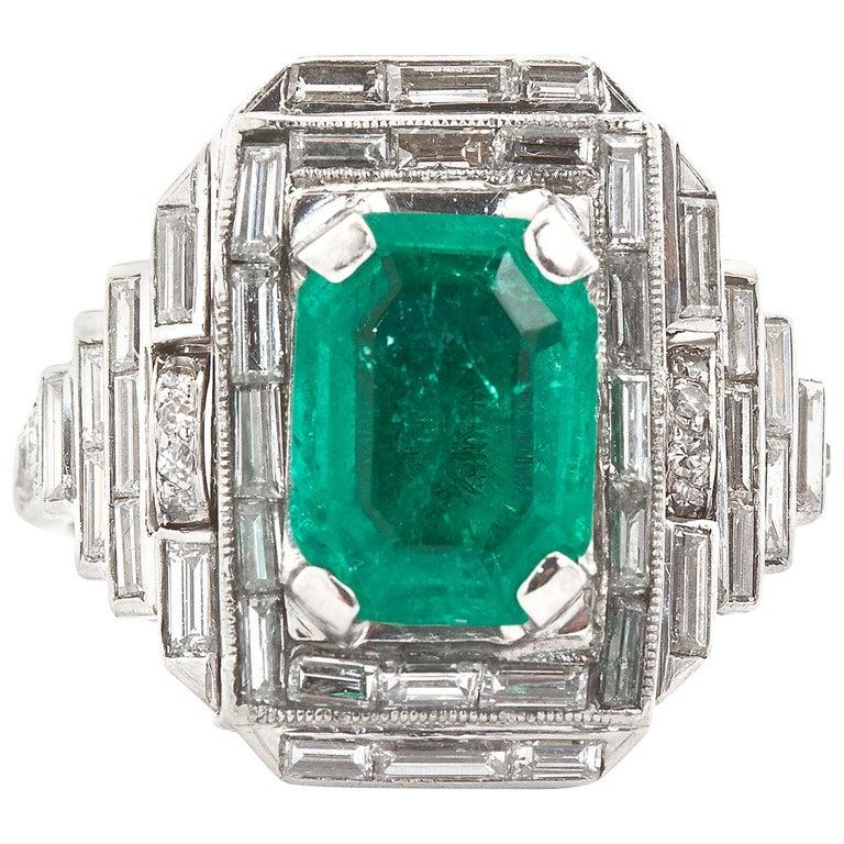 Vintage Emerald Diamond Baguette Ring 4.00 Carat Emerald For Sale