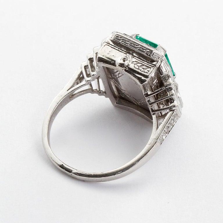 Art Deco Vintage Emerald Diamond Baguette Ring 4.00 Carat Emerald For Sale