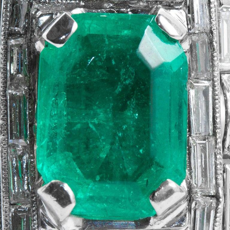 Emerald Cut Vintage Emerald Diamond Baguette Ring 4.00 Carat Emerald For Sale