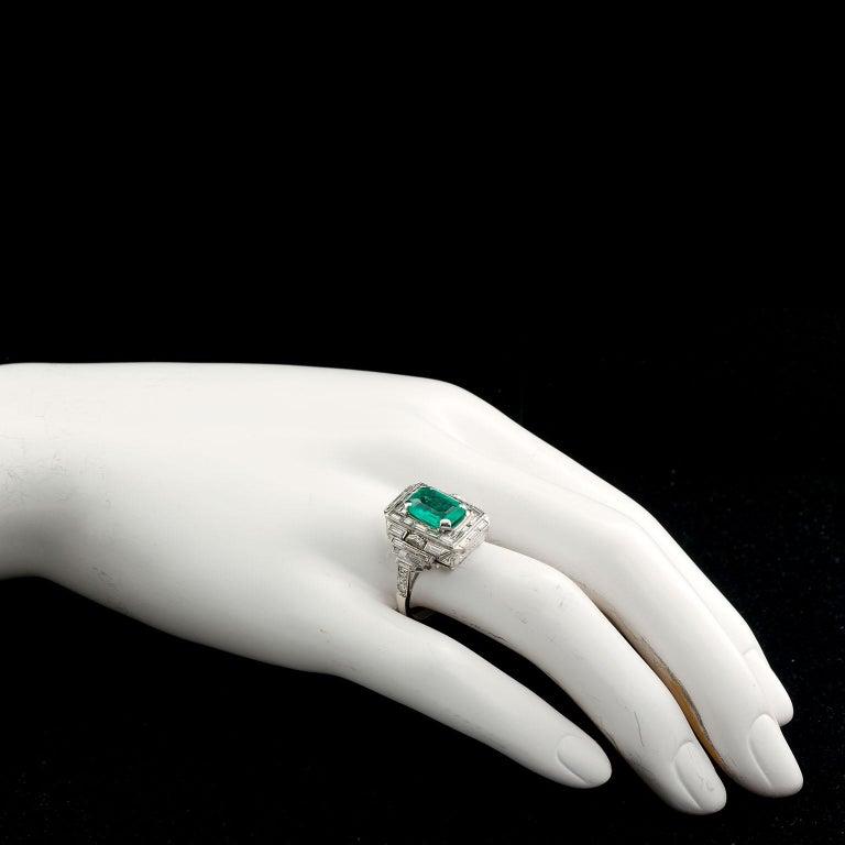 Women's Vintage Emerald Diamond Baguette Ring 4.00 Carat Emerald For Sale
