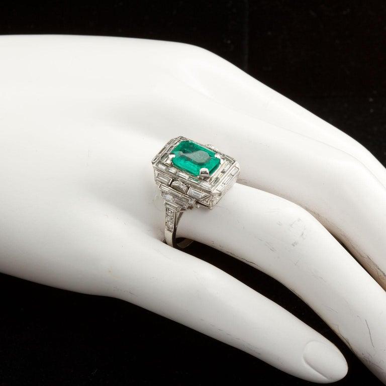 Vintage Emerald Diamond Baguette Ring 4.00 Carat Emerald For Sale 1
