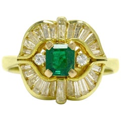 Vintage Emerald Diamond Cocktail Ring Ballerina Baguettes Yellow Gold Statement
