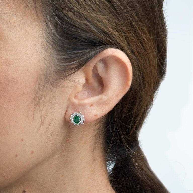 Oval Cut Vintage Emerald Diamond Oval Stud Earrings 14 Karat White Gold Princess Cluster For Sale