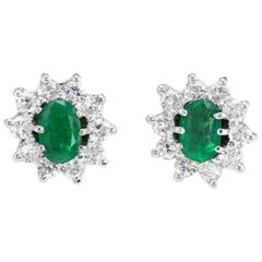 Vintage Emerald Diamond Oval Stud Earrings 14 Karat White Gold Princess Cluster