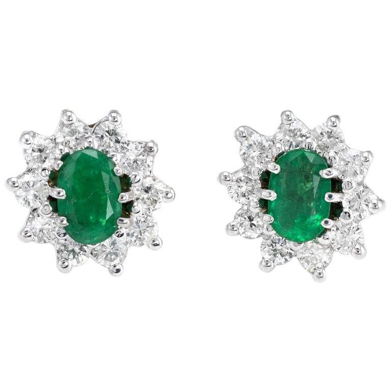 Vintage Emerald Diamond Oval Stud Earrings 14 Karat White Gold Princess Cluster For Sale