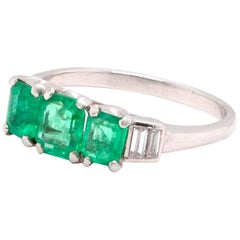 Vintage Emerald Diamond Platinum Ring