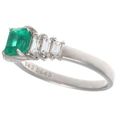 Vintage Emerald Diamond Platinum Ring