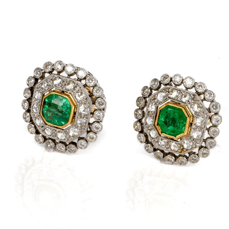 These very fine  Vintage emerald & diamond stud earrings are crafted in solid platinum, weighing 6.0 grams and measuring 16mm. Centered with a pair of bezel set, Asscher cut, genuine viberant colombian  emeralds, weighing approximatel 1.00 carats.