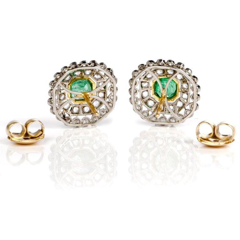 Art Deco Vintage Emerald Diamond Platinum Stud Earrings For Sale