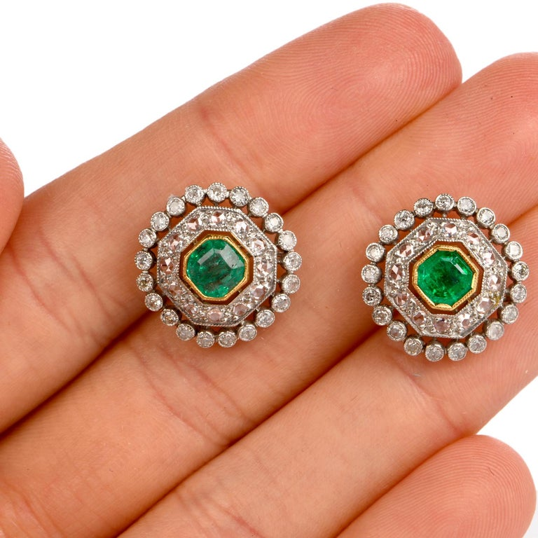 Vintage Emerald Diamond Platinum Stud Earrings In Good Condition For Sale In Miami, FL