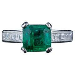 Vintage Emerald Diamond Ring Platinum 2.27ct Emerald 0.80ct Diamond Dated 1956