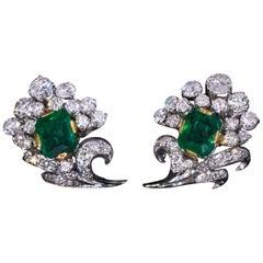 Vintage Emerald Diamond White Gold Earrings