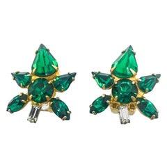 Vintage Emerald Glass Flower Earrings 1950S