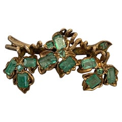 Vintage Emerald Gold Washed and Silver Brooch Pin