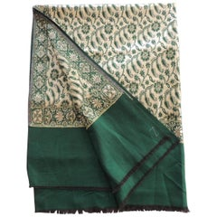 Vintage Emerald Green and Gold Indian Woven Paisley Shawl