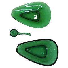 Vintage Emerald Green Glass Serving Bowl Set