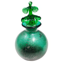 Vintage Emerald Green Murano Glass Perfume Bottle in the style of Martinuzzi