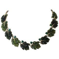 Vintage Emerald Oak Leaf Necklace by Lisner