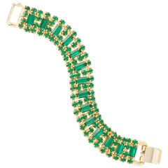 Vintage Emerald Rhinestone Cocktail Bracelet Attributed To Weiss, 1950s