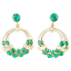 Vintage Emerald Rhinestone Drop Hoop Earrings by Coro, 1960s