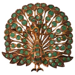 Vintage Emerald Rose Gold Peacock Brooch Pendant