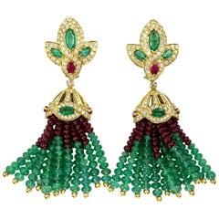 Vintage Emerald, Ruby and Diamond 18 Karat Tassel Earrings