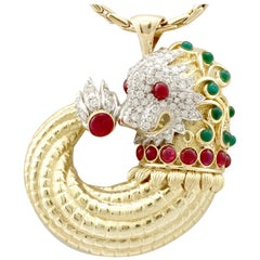 Emerald Ruby and Diamond Yellow and White Gold Dragon Pendant