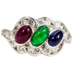 Vintage Emerald, Ruby and Sapphire Platinum Ring