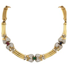 Vintage Emerald Sapphire Ruby Yellow Gold Necklace with Diamonds 18 Karat Gold