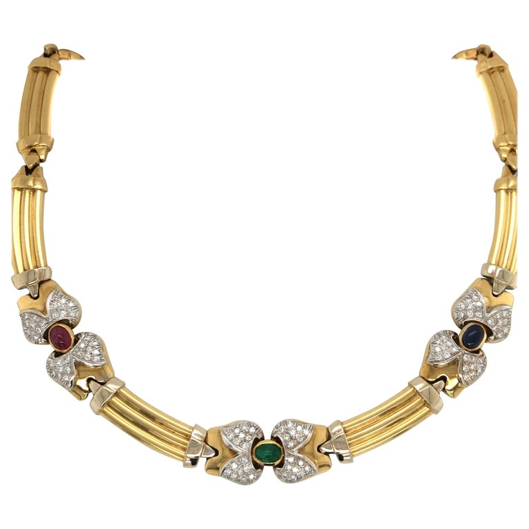 Vintage Emerald Sapphire Ruby Yellow Gold Necklace with Diamonds 18 Karat Gold For Sale