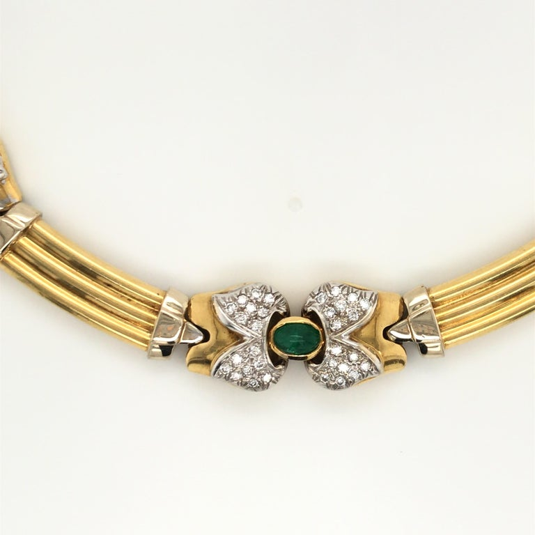 Contemporary Vintage Emerald Sapphire Ruby Yellow Gold Necklace with Diamonds 18 Karat Gold For Sale