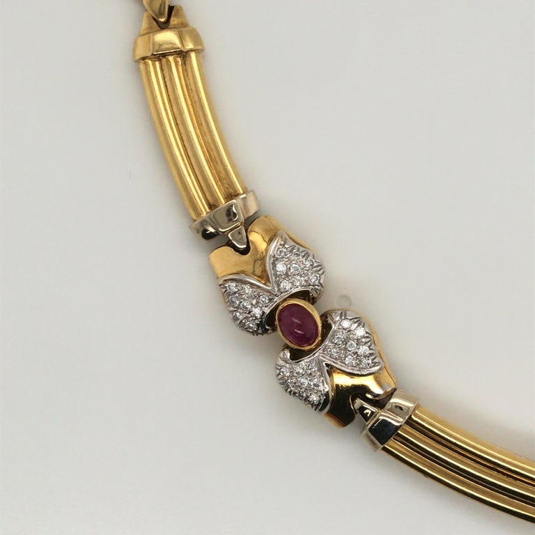 Oval Cut Vintage Emerald Sapphire Ruby Yellow Gold Necklace with Diamonds 18 Karat Gold For Sale