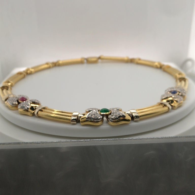 Women's Vintage Emerald Sapphire Ruby Yellow Gold Necklace with Diamonds 18 Karat Gold For Sale