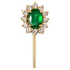 Vintage Emerald Tie or Lapel Pin with Diamond Surround, English, circa 1970