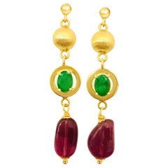 Vintage Emerald Tourmaline Gold Dangle Earrings