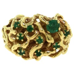 Vintage Emerald Yellow Gold Swirl Dome Cocktail Ring