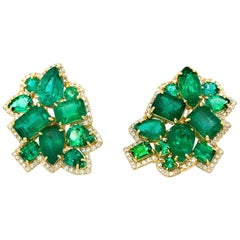 Vintage Emeralds, Set in a Modern Classic 18 Karat Gold French Clip Earrings