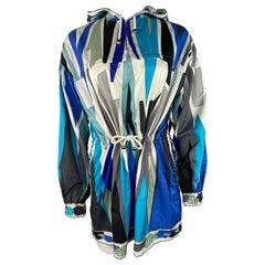Vintage Emilio Pucci Blue Nylon Wind Parka Jacket, Size 10