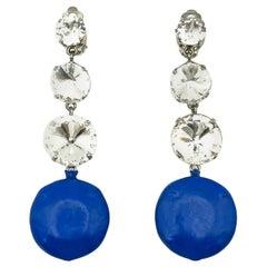 Vintage Emilio Pucci Electirc Blue & Crystal Earrings 1980s