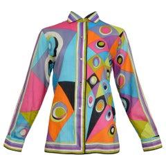Vintage Emilio Pucci Multi Color Cotton Psychedelic Blouse