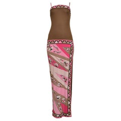Vintage Emilio Pucci Pink & Brown Abstract Print Silk Jersey Gown
