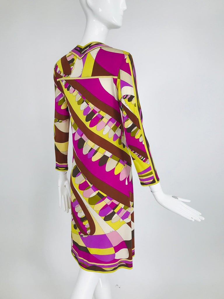 Vintage Emilio Pucci Silk Jersey Print Long Sleeve Day Dress 1960s In Good Condition For Sale In West Palm Beach, FL
