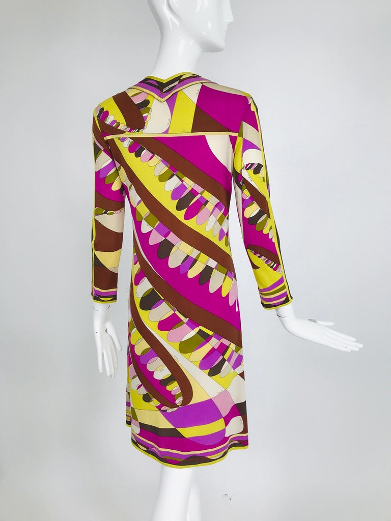 Women's Vintage Emilio Pucci Silk Jersey Print Long Sleeve Day Dress 1960s For Sale