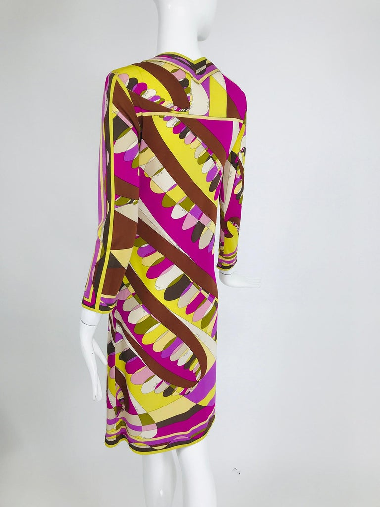 Vintage Emilio Pucci Silk Jersey Print Long Sleeve Day Dress 1960s For Sale 2
