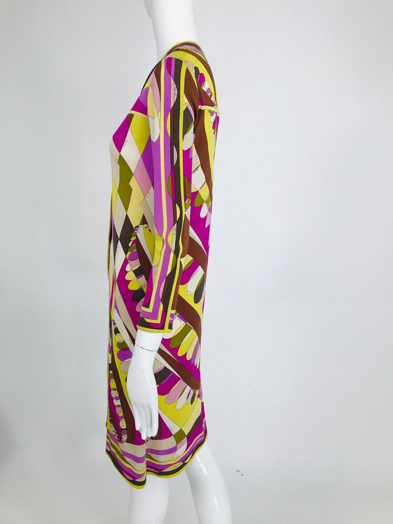 Vintage Emilio Pucci Silk Jersey Print Long Sleeve Day Dress 1960s For Sale 3