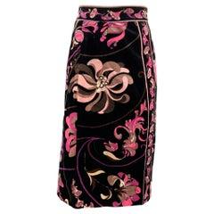 Vintage EMILIO PUCCI Size M Black & Pink Floral Velvet A-Line Skirt