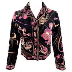 Vintage EMILIO PUCCI Size M Black & Pink Floral Velvet Cropped Jacket