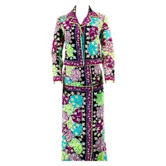 Vintage EMILIO PUCCI Velvet Floral Multi Color Jacket and Maxi Skirt Suit